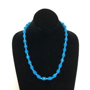 Vintage Blue Agate Beaded Necklace